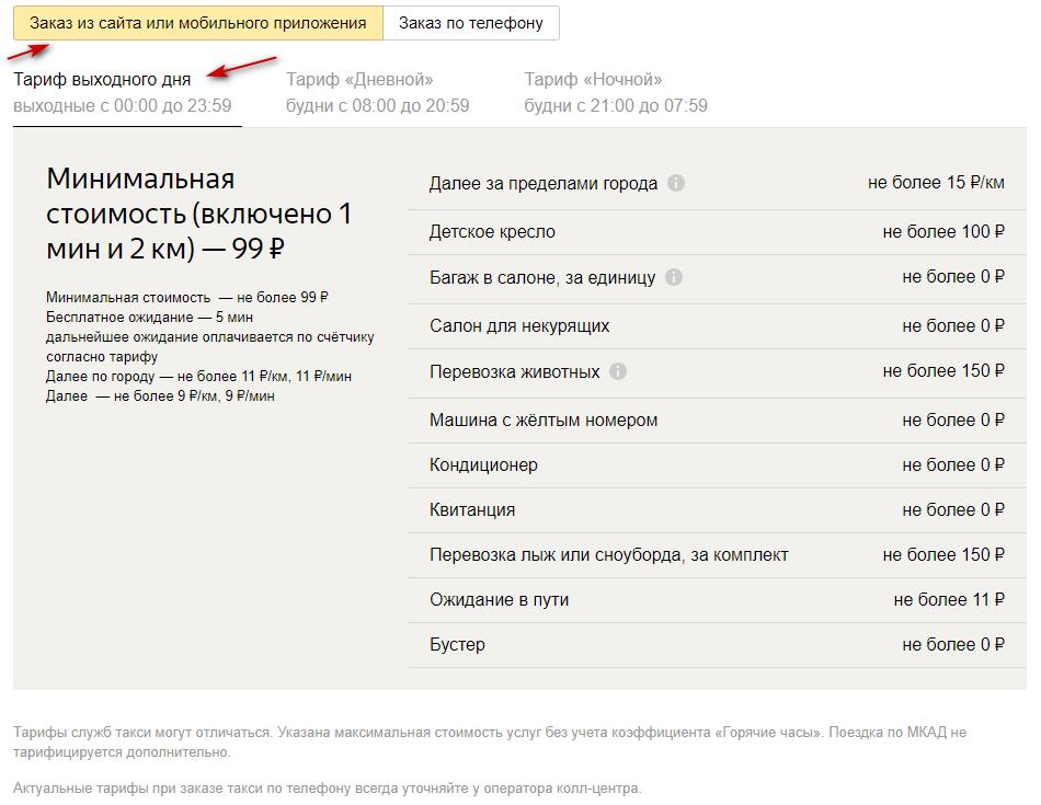 Стоимость поездки по тарифу выходного дня в Москве при заказе машины через сайт или мобильное приложение