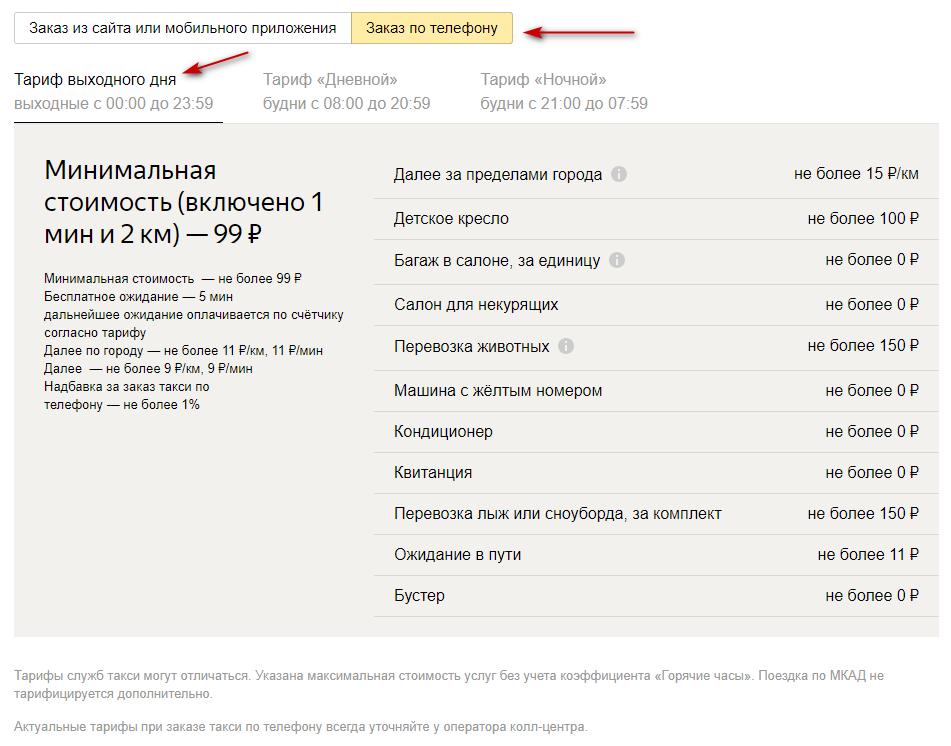 Стоимость поездки по тарифу выходного дня в Москве при заказе машины по телефону