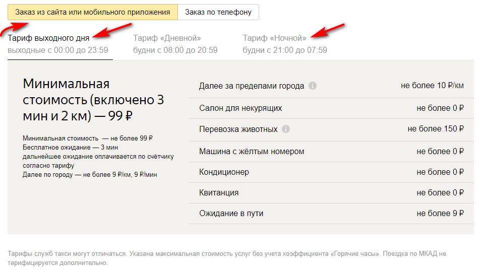 """Тариф выходного дня и """"Ночной"""" на Яндекс Такси эконом-класса"""