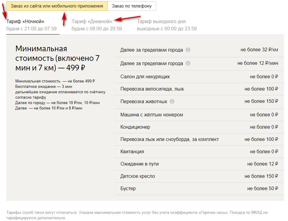 Дневной и ночной тарифы по Москве при заказе через сайт