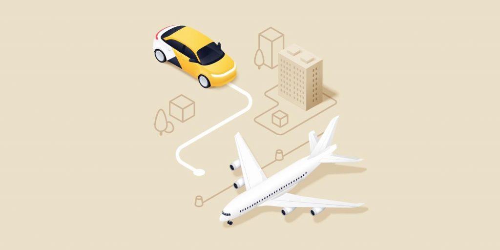 Машина, самолет и домик