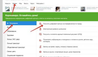 Получение электронного пропуска через сайт Москвы. шаг 1